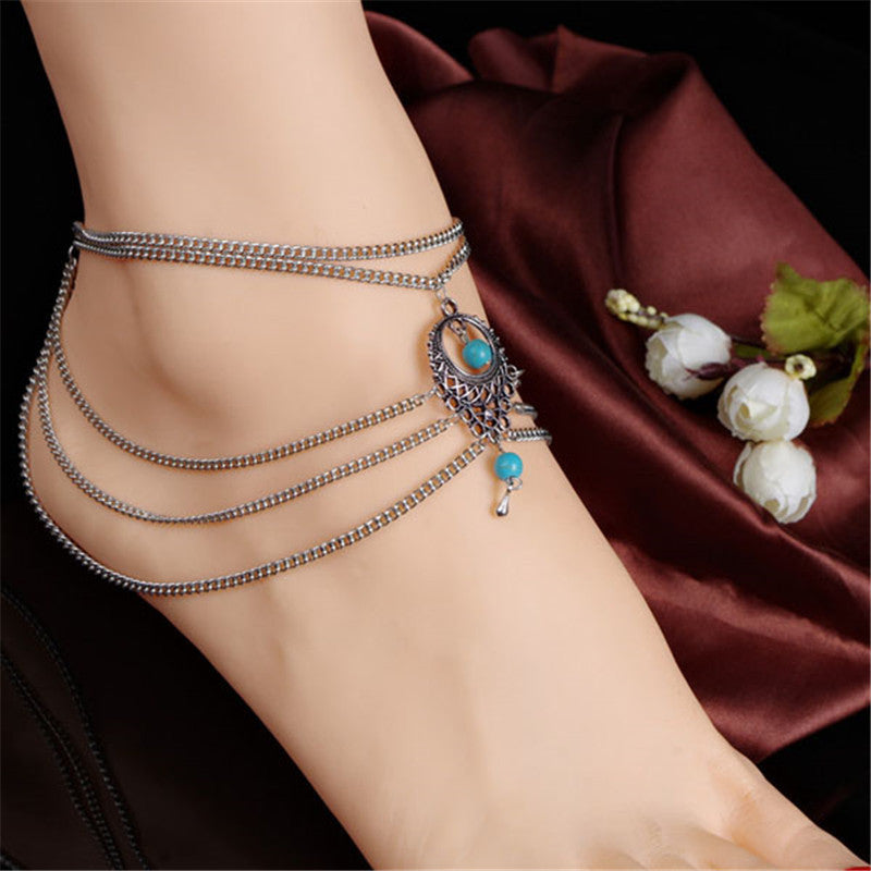 Boho Style Chain Beads Ankle Bracelet Tassel Link - Trinket Fascinations Jewelry