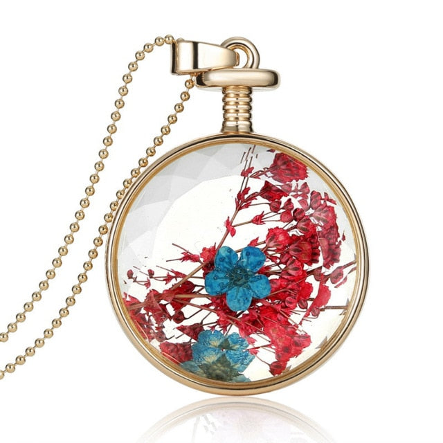 Dried Flowers Glass Pendant Gold Vintage Long Necklace