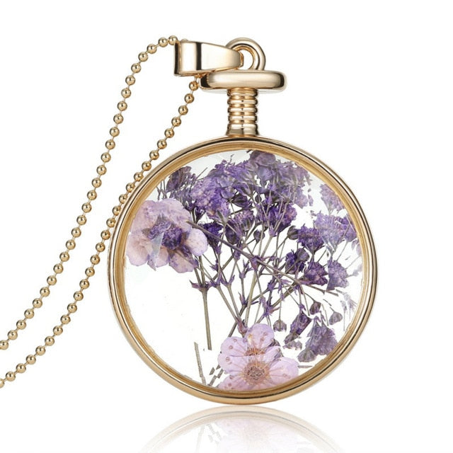 Dried Flowers Glass Pendant Gold Vintage Long Necklace - Trinket Fascinations Jewelry
