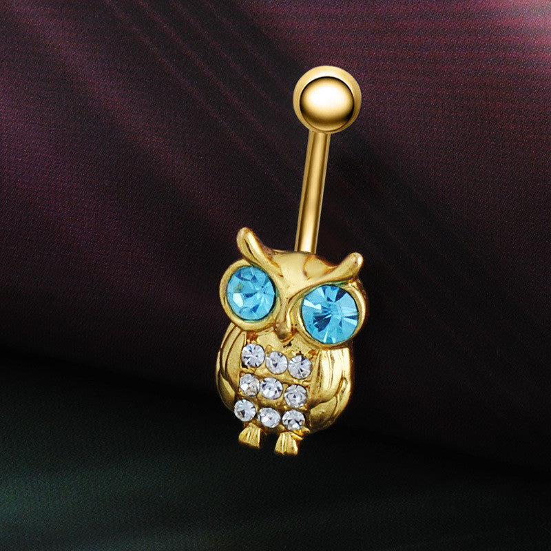 Gold Owls Blue Crystal Belly Rings - Trinket Fascinations Jewelry