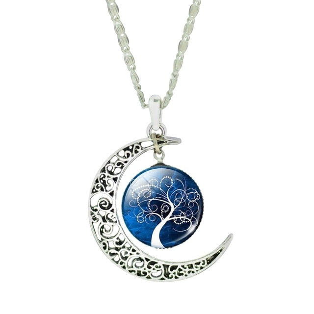 Glass Moon Vintage Tree of Life Silver Necklace - Trinket Fascinations Jewelry