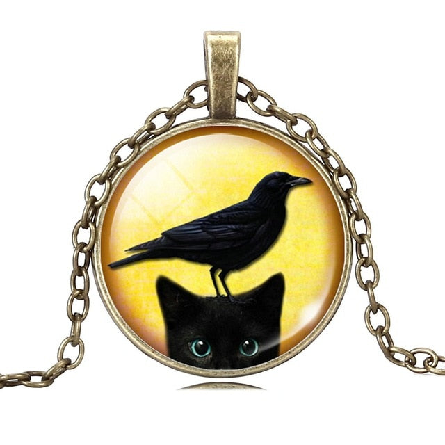 Black Cat Cabochon Glass Silver/Bronze Chain Necklace  Vintage Pendant