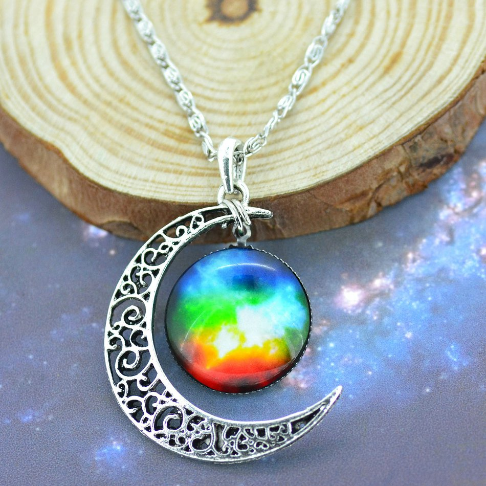 Moon Crystal Galaxy Pendant Necklace - Trinket Fascinations Jewelry