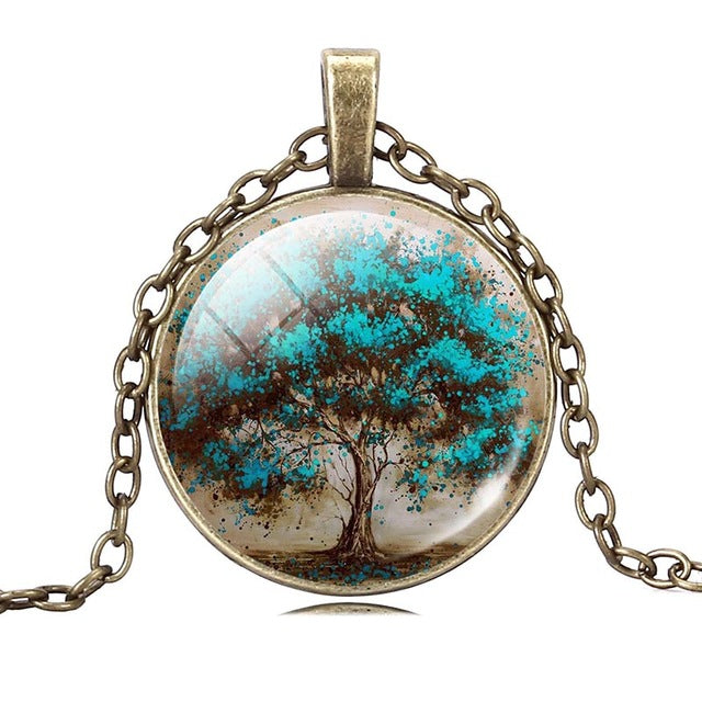 Life Tree Pendant Necklace Art Glass Cabochon Vintage Choker - Trinket Fascinations Jewelry