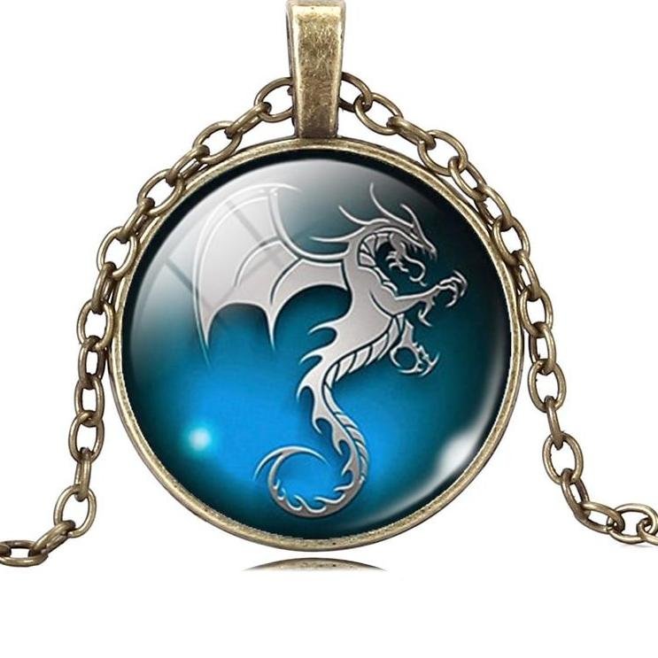 Dragon Glass Cabochon Bronze Pendant Necklace
