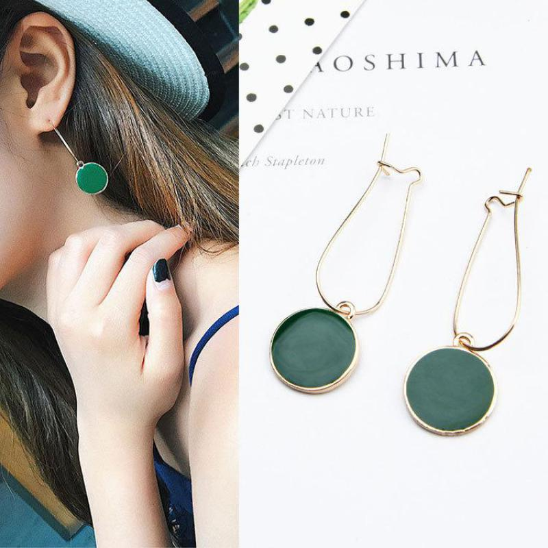 Simple Korean Green Circle Earrings