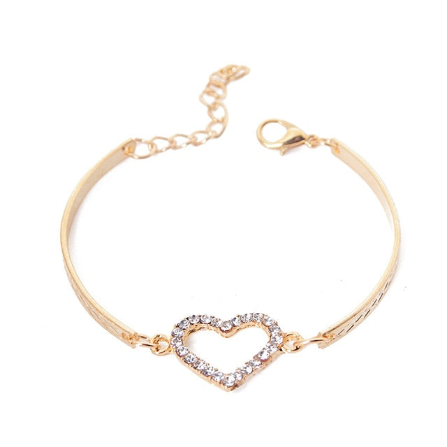Crystal Gold Heart Charm Bracelet - Trinket Fascinations Jewelry