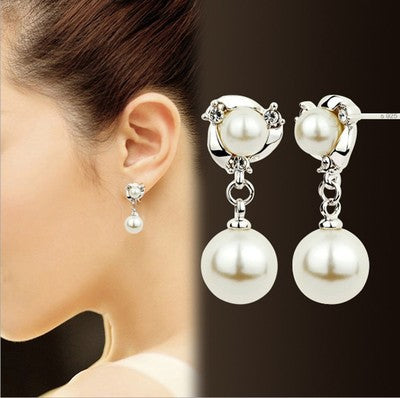Korean Crystal Rhinestones Imitation Pearl Stud Anti Allergy Earrings