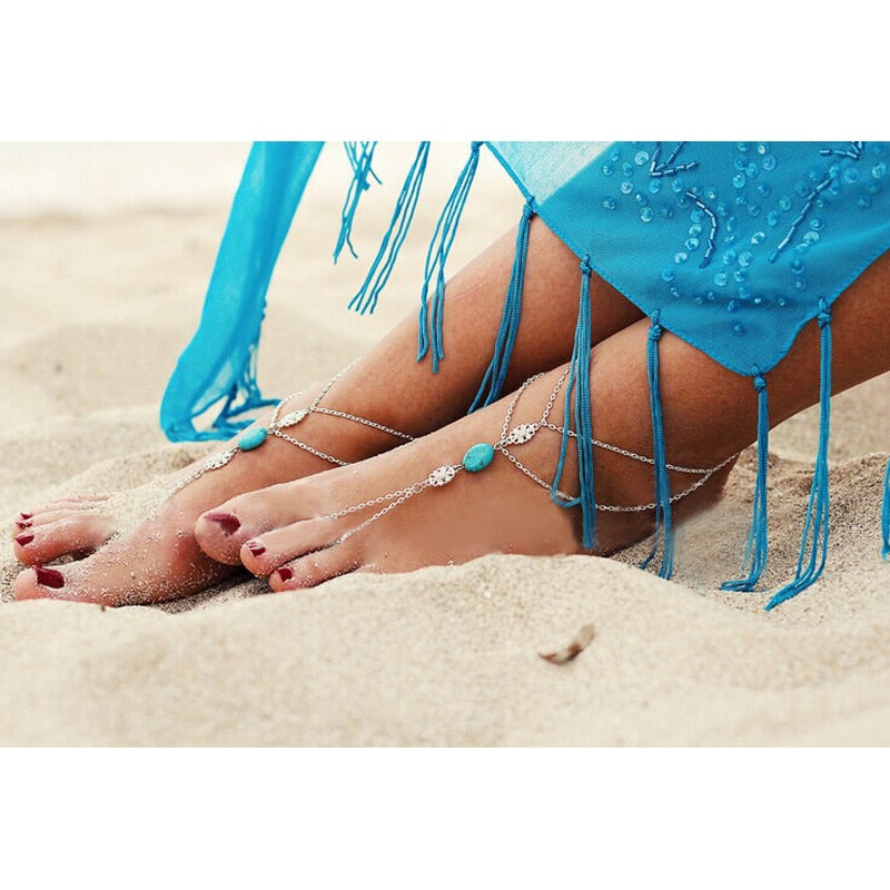 Summer Bohemian Turquoise Beach Anklet