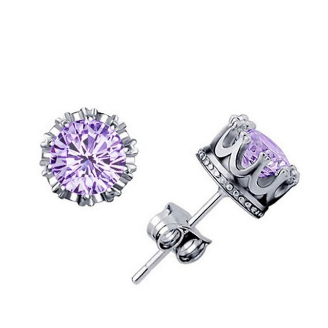 Crown Crystal Zirconia Earrings - Trinket Fascinations Jewelry