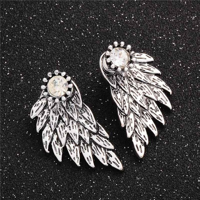 Gothic Wings Rhinestone Stud Earrings. Available in Black Gold Silver - Trinket Fascinations Jewelry