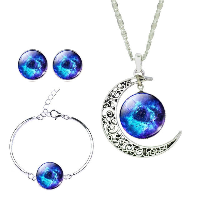Classic Galaxy Glass Necklace Stud Earrings Bracelet Bangle Jewelry Sets - Trinket Fascinations Jewelry