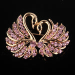 Cute Crystal Swan Brooch Pins Gold