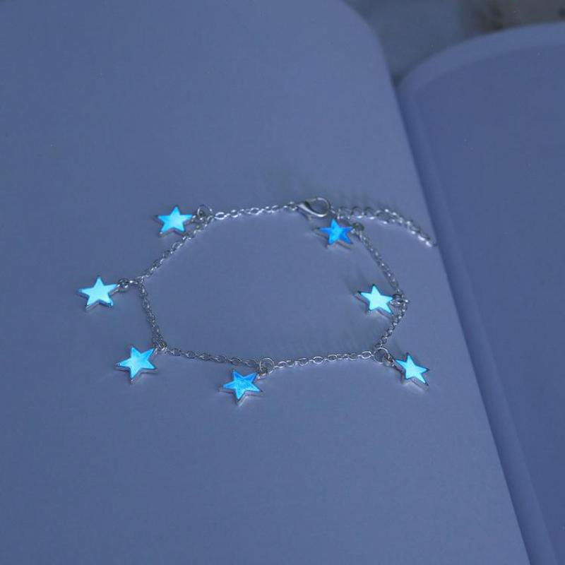 Luminous Blue Pentagon Star Tassel Anklet Silver Chain Handmade Anklets - Trinket Fascinations Jewelry