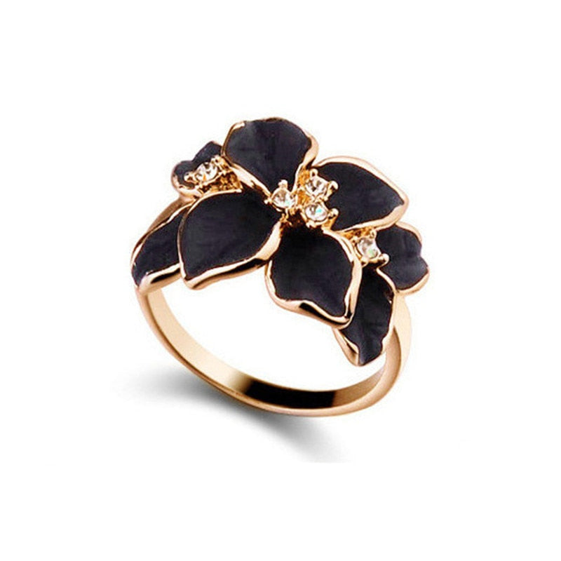 Rose Gold Color Austrian Crystal Black/White Enamel Flower Ring - Trinket Fascinations Jewelry