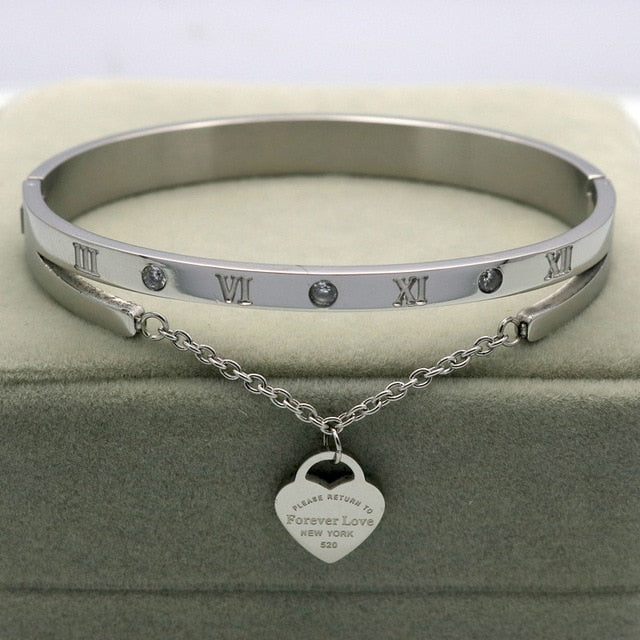 Hanging Heart Label Stainless Steel Bangle & Bracelets For Women - Trinket Fascinations Jewelry