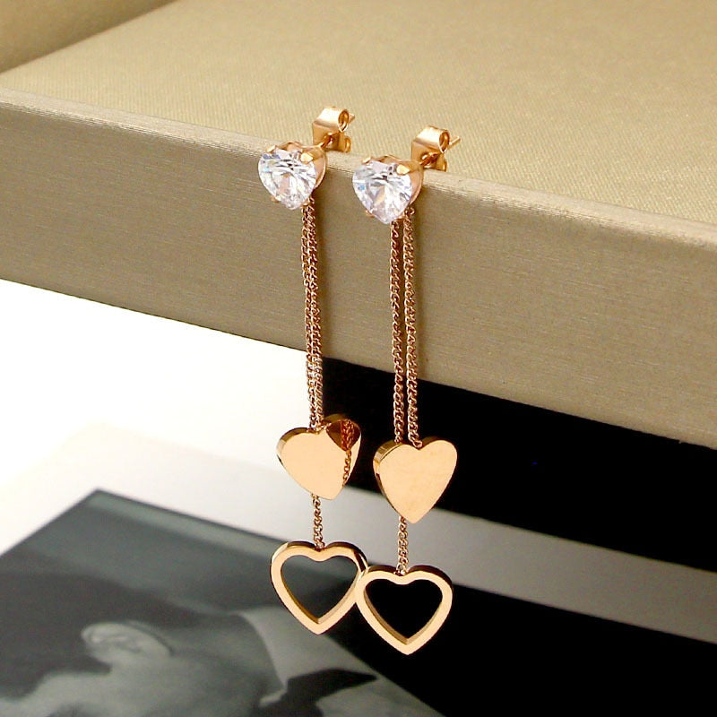 Crystal Peach Heart Tassel Long Double Earrings Titanium Steel Rose Gold