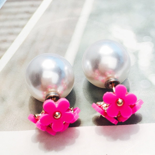 Simulated Pearl Flower Double Side Stud Earring. 18 Colors. - Trinket Fascinations Jewelry