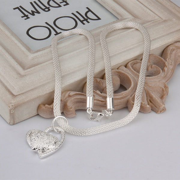 Silver Plated Heart Pendant Necklace - Trinket Fascinations Jewelry