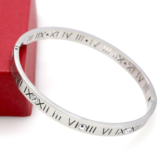 Roman Numerals Crystal Stainless Steel Bangle - Trinket Fascinations Jewelry