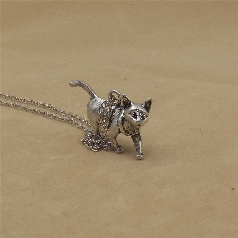 Vintage Retro 3D Sphynx Cat Necklace - Trinket Fascinations Jewelry