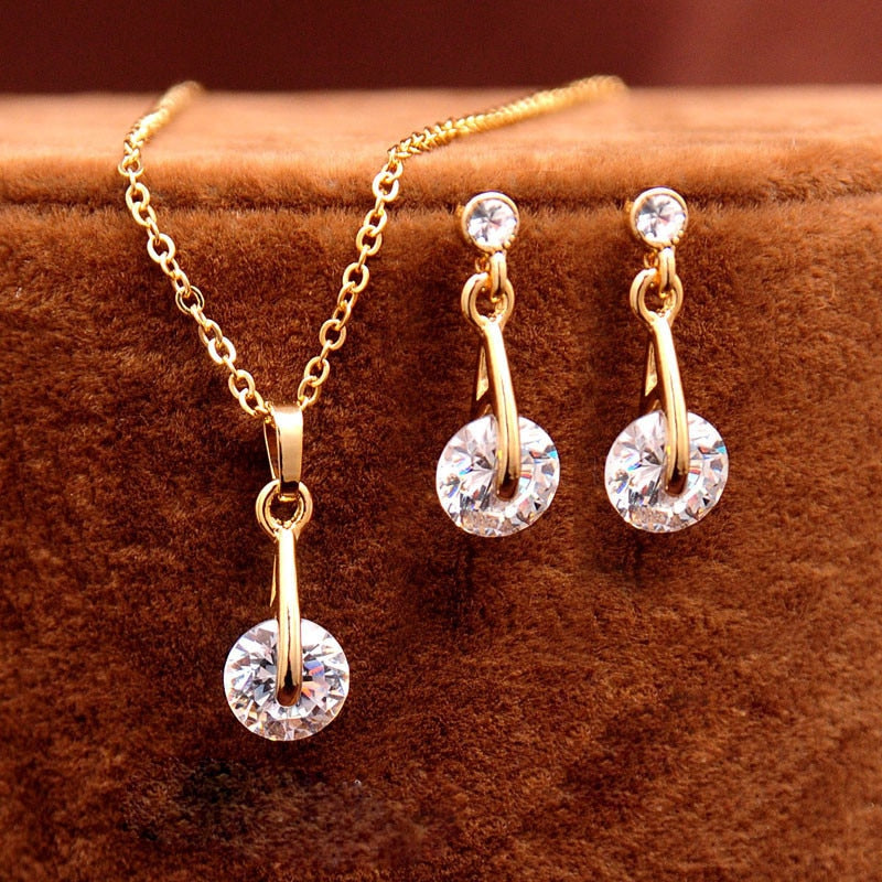 Crystal Jewelry Sets : Gold Color Pendant Necklace Earrings