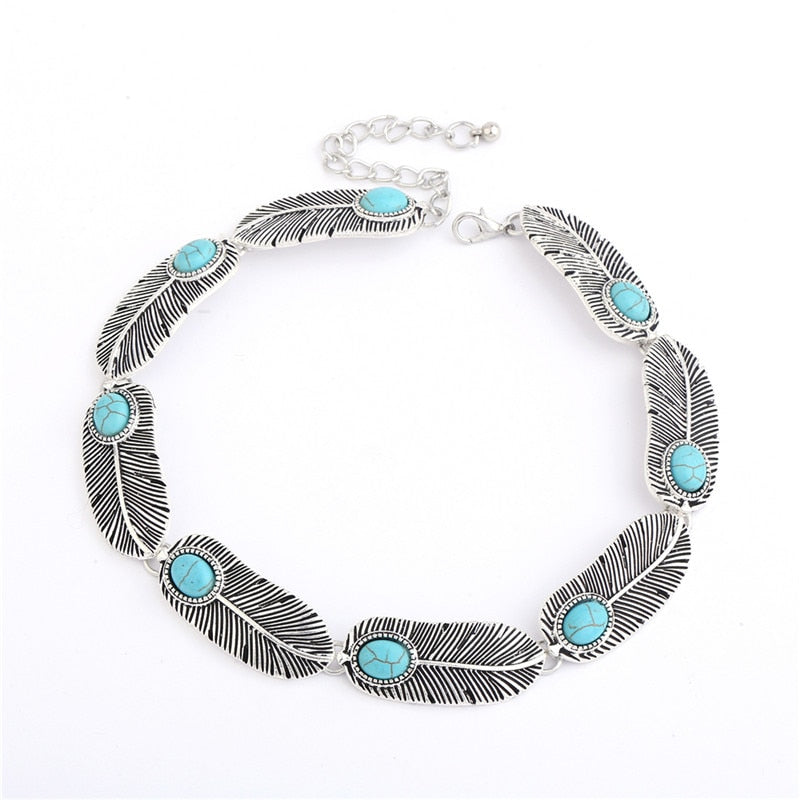 Bohemia Silver Real Turquoise Stone Leaf shape Choker Necklace - Trinket Fascinations Jewelry