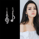 Crystal Rhinestone Music Notes Dangle Earrings