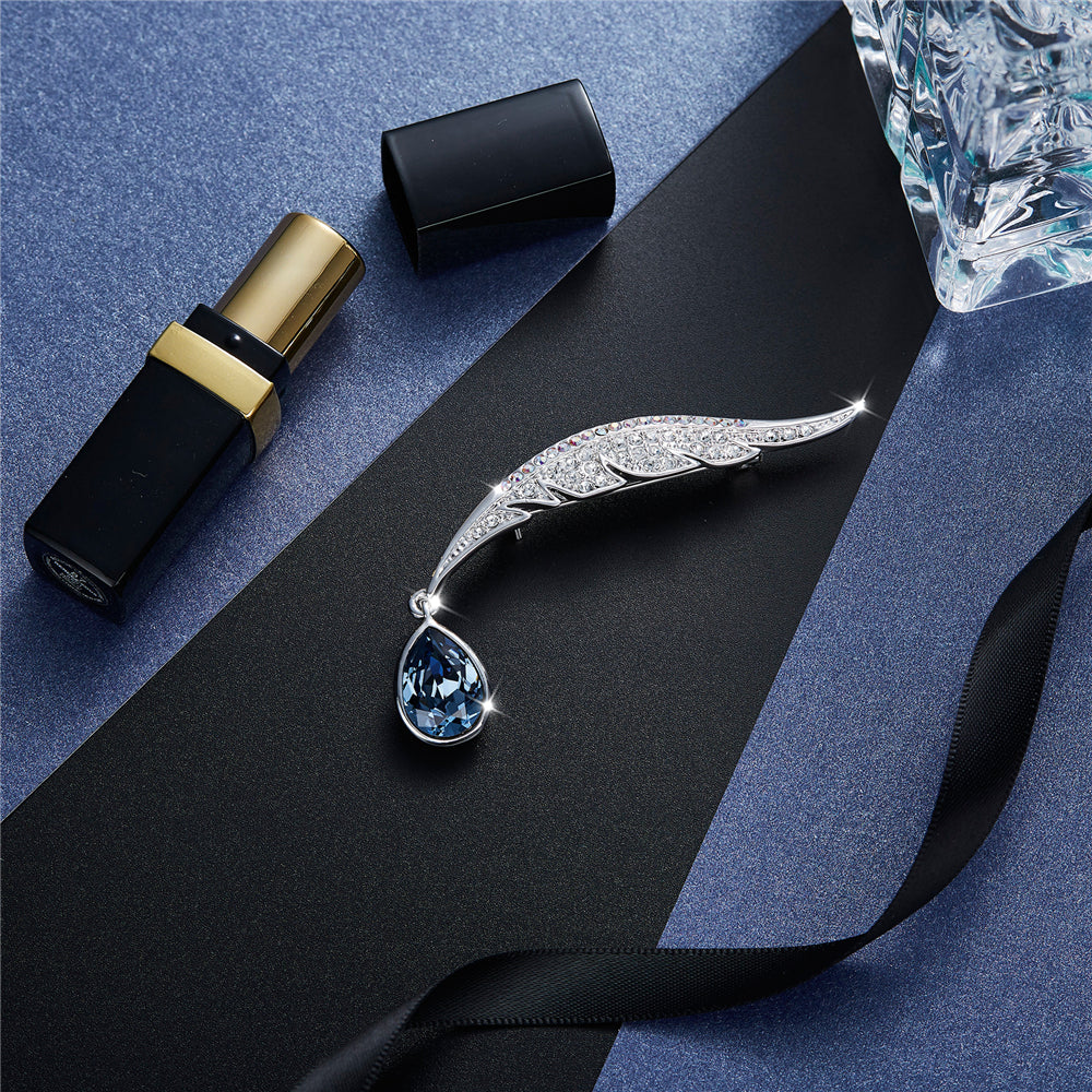 Blue Feather Swarovski Crystal Brooch