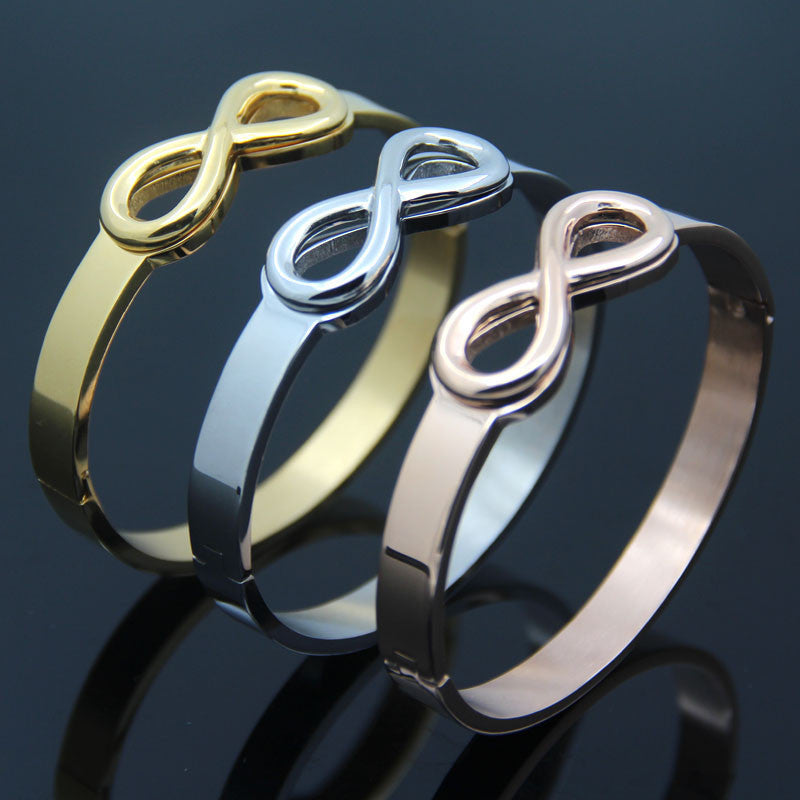 Infinity Symbol Stainless Steel Cuff Bangle. 3 Colors, 2 Sizes.