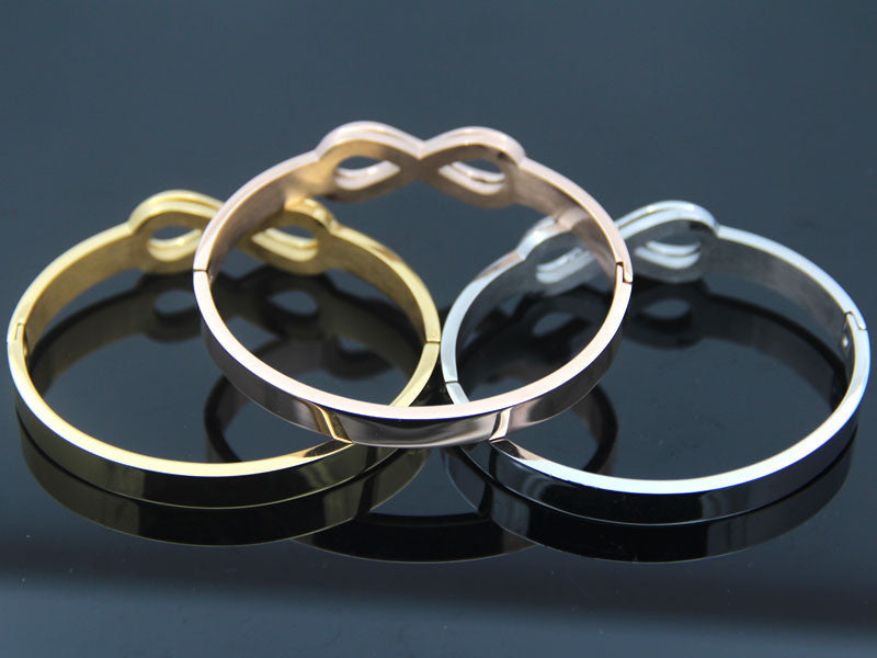 Infinity Symbol Stainless Steel Cuff Bangle. 3 Colors, 2 Sizes. - Trinket Fascinations Jewelry