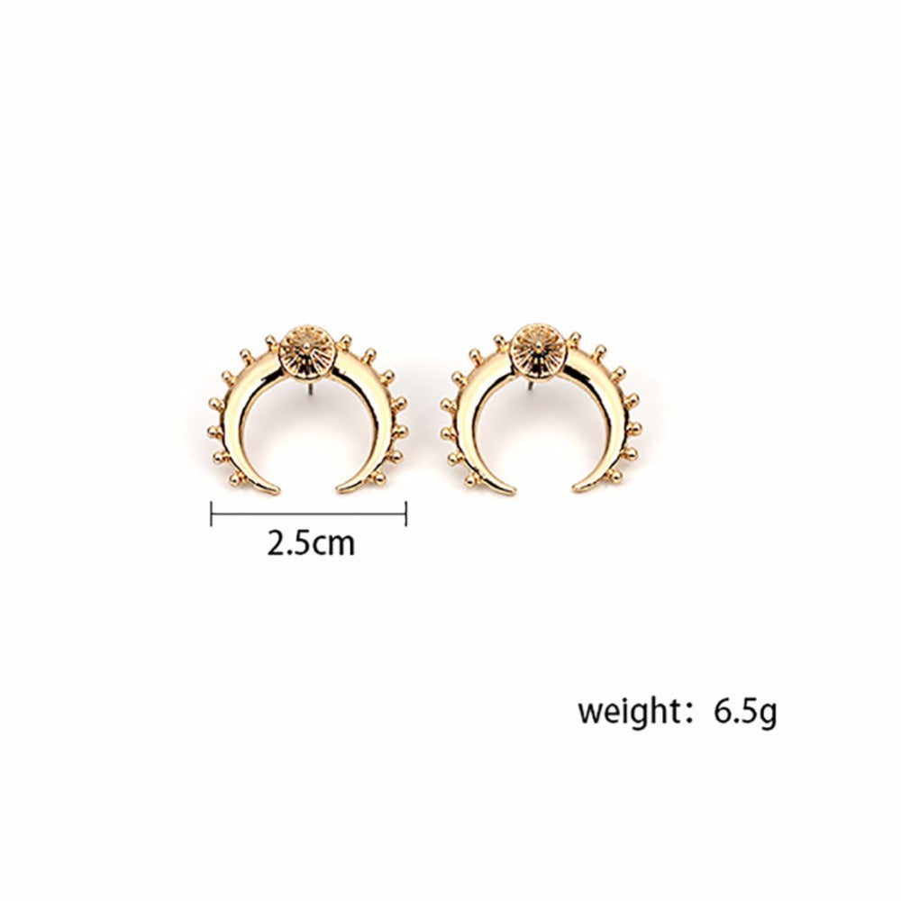 New Vintage Gold Silver Color Crescent Moon Earrings for Women - Trinket Fascinations Jewelry