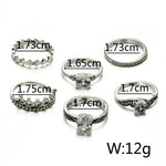Bohemian Crown Star Carved Knuckle Rings Set for Women 6pcs per set