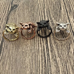 Vintage Adjustable Sleeping Cat Rings
