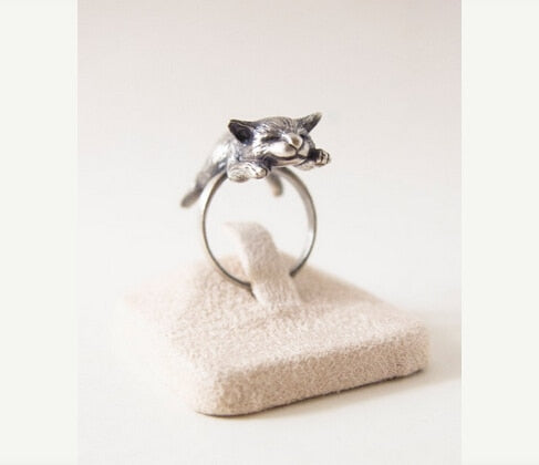 Vintage Adjustable Sleeping Cat Rings - Trinket Fascinations Jewelry