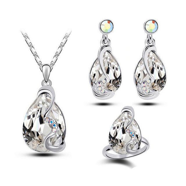 Charm Water Drop Zirconia Crystal Jewelry Set Pendant Necklace Earrings Ring - Trinket Fascinations Jewelry