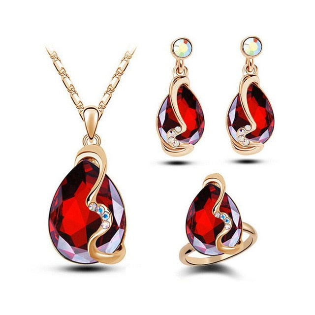 Charm Water Drop Zirconia Crystal Jewelry Set Pendant Necklace Earrings Ring