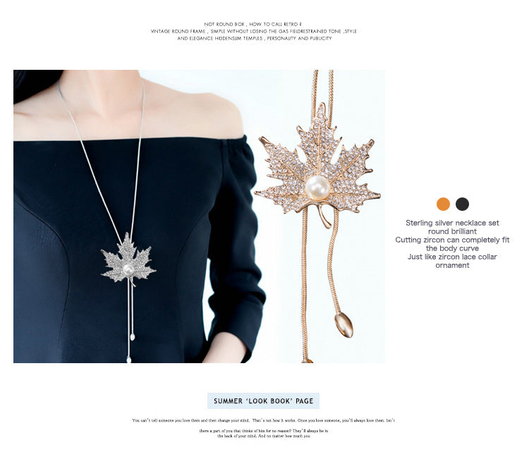 Maple Leaf with Pearl Pendant Long Necklace - Trinket Fascinations Jewelry