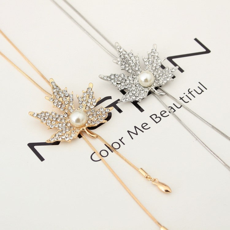 Maple Leaf with Pearl Pendant Long Necklace