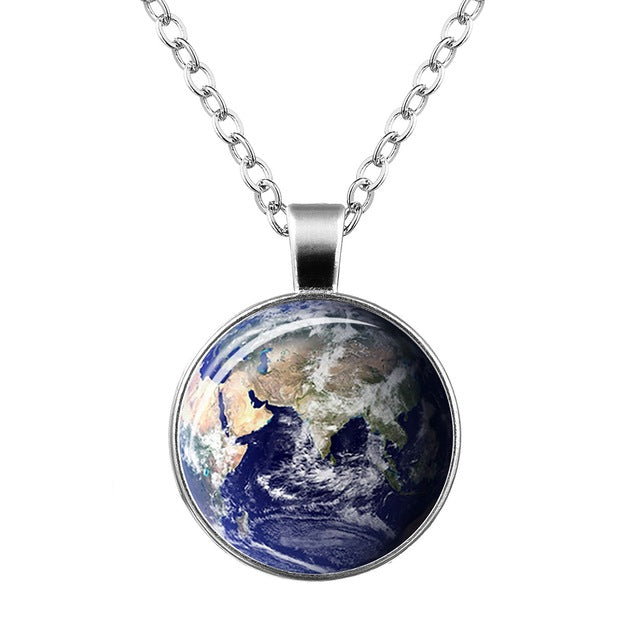 Glow in the Dark Galaxy Moon Pendant Necklace Vintage Silver Chain - Trinket Fascinations Jewelry