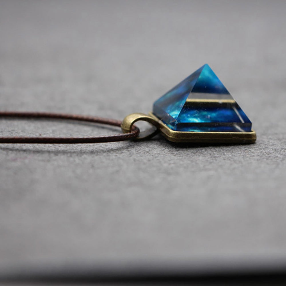 Glow In The Dark Crystal Galaxy Pyramid Pendant Necklace - Trinket Fascinations Jewelry