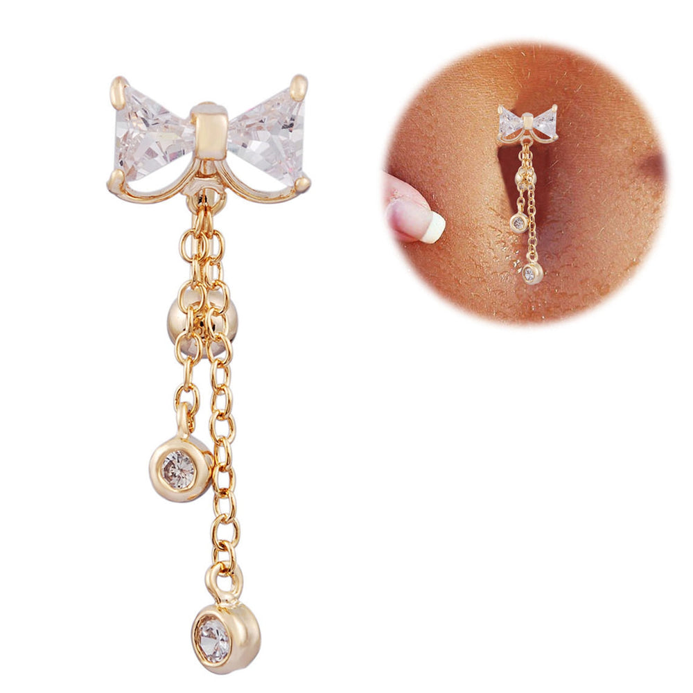 Sexy Bow-Knot Cute Belly Button Ring. Surgical Stainless Steel, CZ - Trinket Fascinations Jewelry