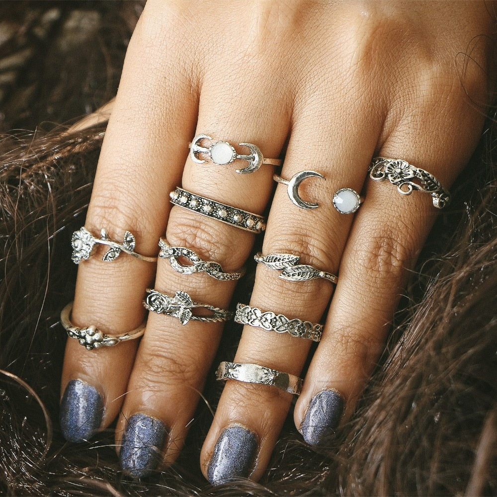 11pcs/Set Vintage Punk Antique Rings For Women