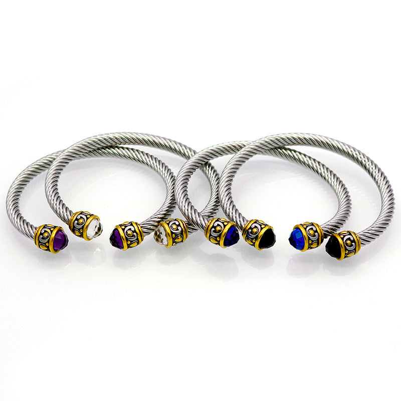 Diamante Stainless Steel Cuff Bangle. 4 Colors - Trinket Fascinations Jewelry