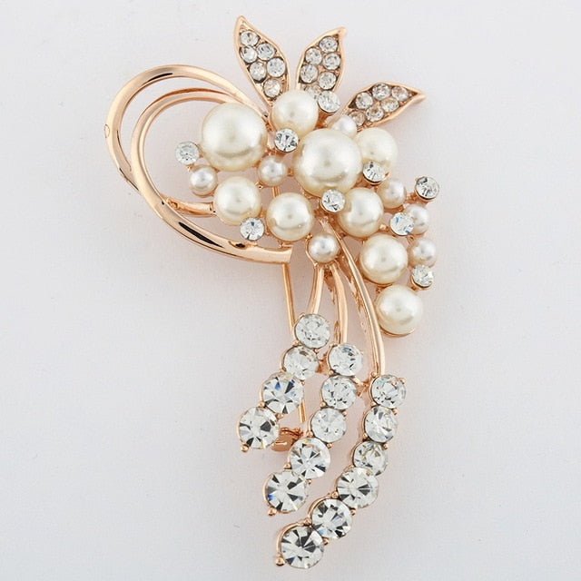 Vintage Gold  Crystal Pearl Brooch - Trinket Fascinations Jewelry