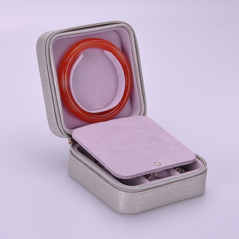 Portable Fashion Printed Leather Jewelry Box. 7 Colors - Trinket Fascinations Jewelry