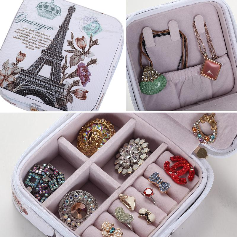 Portable Fashion Printed Leather Jewelry Box. 7 Colors