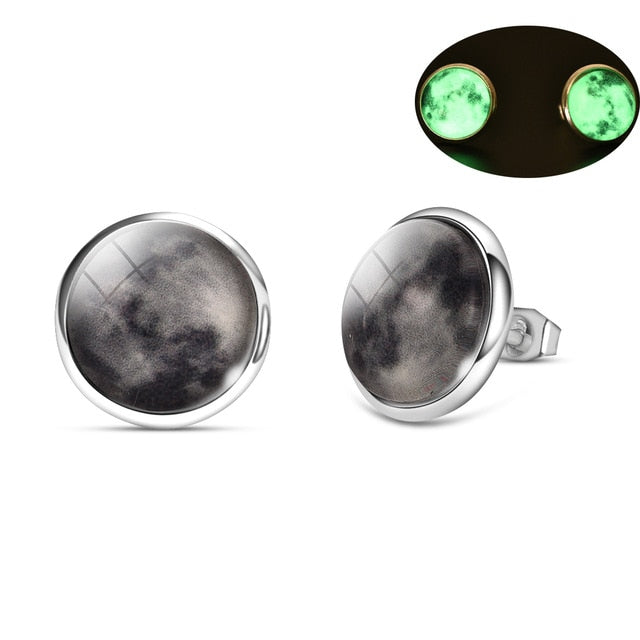 Glow in the Dark Galaxy Moon Earrings