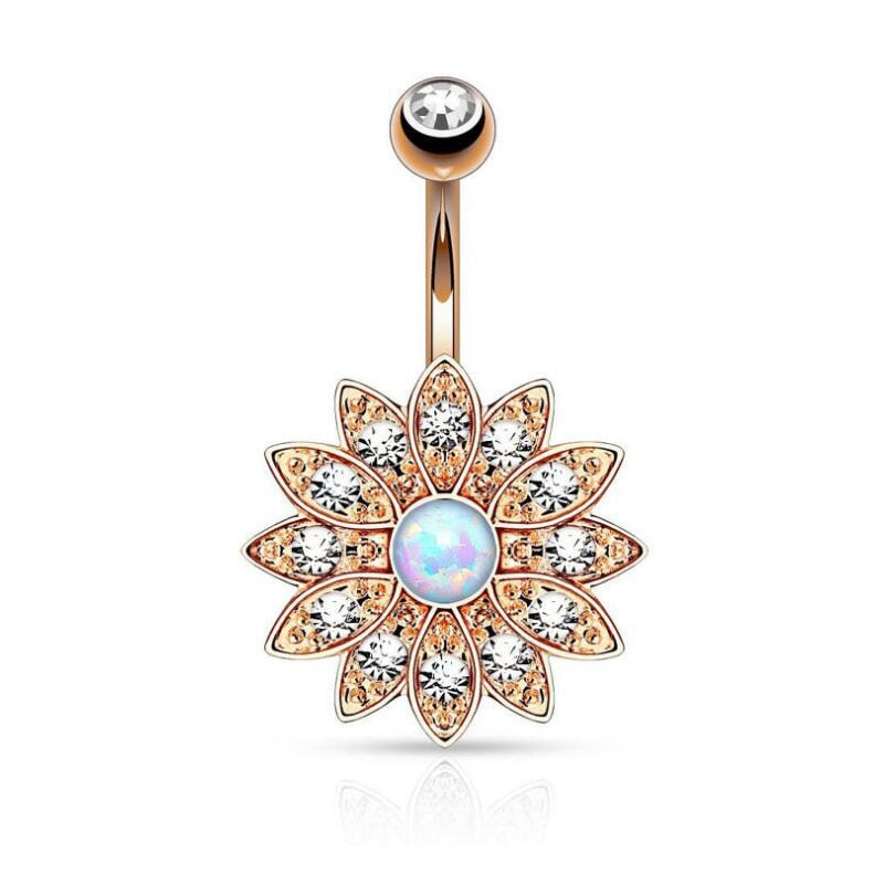 Gold Zirconia Crystal Flower Belly Button Ring - Trinket Fascinations Jewelry