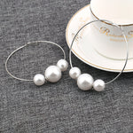 High-Polished Pearl Hoop Earring. Gold/Silver